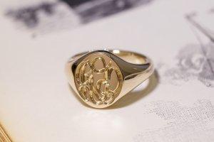【Semi-custom made】The My Way×KUBUS Hand Engraved Oval Signet Ring(9ct Yellow Gold) RO5