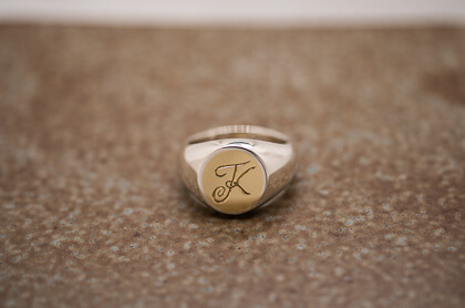【Semi-custom made】Brass×Silver Combination Signet ring(S)(engraved)thumbnail