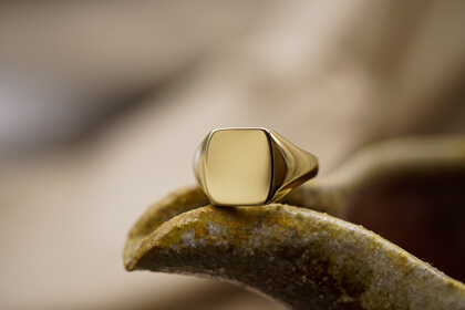 【Bespoke Order】Signut ring(Brass) face type:Rectangle Bllog