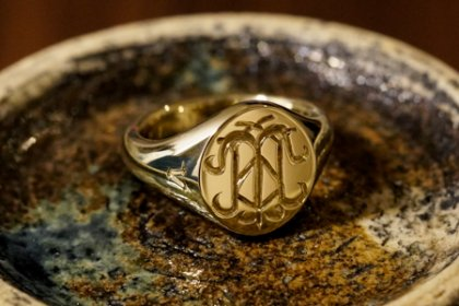 【Semi-custom made】The My Way×KUBUS Hand Engraved Oval Signet Ring(Brass) TMW_thumbnail