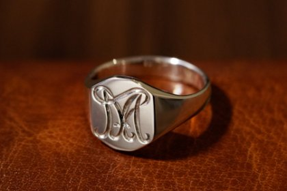 【Semi-custom made】The My Way×KUBUS Hand Engraved Octagon Signet Ring(Sv925) M7&more_thumbnail