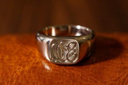 【Bespoke Order】Hand Engraved Square Signet Ring(18ct White Gold)ODE_thumbnail