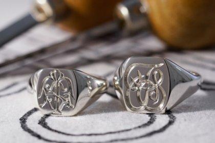 【Bespoke Order】Hand Engraved Pair Rectangle Signet Ring(Sv925) 「TS」_thumbnail