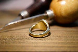 【Semi-custom made】Hand Engraved Oval Signet Ring(Brass) 「SM」_7