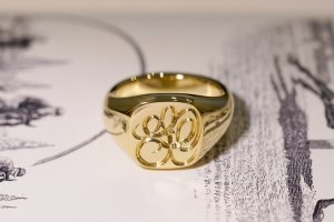 【Bespoke Order】Hand Engraved Mellow Square Signet Ring(18ct Yellow Gold) 「SO」_11