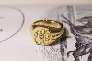 【Bespoke Order】Hand Engraved Mellow Square Signet Ring(18ct Yellow Gold) 「SO」_2