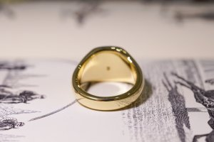【Bespoke Order】Hand Engraved Mellow Square Signet Ring(18ct Yellow Gold) 「SO」_6