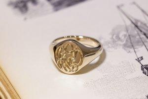 【Semi-custom made】The My Way×KUBUS Hand Engraved Oval Signet Ring(9ct Yellow Gold) RO5_2
