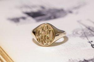 【Semi-custom made】The My Way×KUBUS Hand Engraved Oval Signet Ring(9ct Yellow Gold) RO5_4