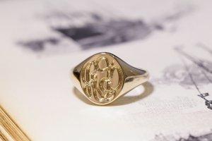 【Semi-custom made】The My Way×KUBUS Hand Engraved Oval Signet Ring(9ct Yellow Gold) RO5_完成2