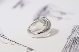 【Bespoke Order】Hand Engraved Circle Signet Ring(Sv925)「S」_11