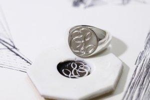 【Bespoke Order】Hand Engraved Circle Signet Ring(Sv925)「S」_2