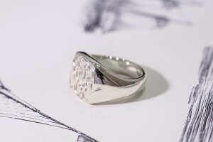 【Bespoke Order】Hand Engraved Curvaceous Square Signet Ring(Sv925)「SSSR」_8