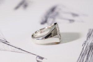【Bespoke Order】Hand Engraved Curvaceous Square Signet Ring(Sv925)「SSSR」_14