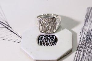 【Bespoke Order】Hand Engraved Curvaceous Square Signet Ring(Sv925)「SSSR」_5