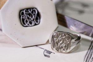 【Bespoke Order】Hand Engraved Curvaceous Square Signet Ring(Sv925)「SSSR」_2
