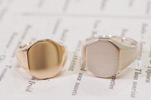 【Semi-custom made】Pair Octagon Signet Ring(9ct Yellow Gold&Sv925)