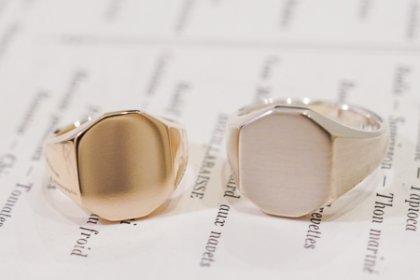 【Semi-custom made】Pair Octagon Signet Ring(9ct Yellow Gold&Sv925)_thumbnail