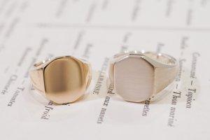 【Semi-custom made】Pair Octagon Signet Ring(9ct Yellow Gold&Sv925)_完成1