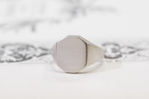 【Semi-custom made】Pair Octagon Signet Ring(9ct Yellow Gold&Sv925)_4