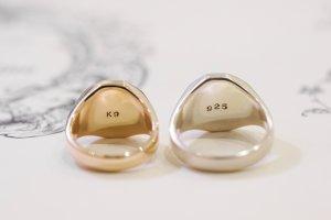 【Semi-custom made】Pair Octagon Signet Ring(9ct Yellow Gold&Sv925)_8