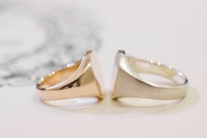 【Semi-custom made】Pair Octagon Signet Ring(9ct Yellow Gold&Sv925)_7