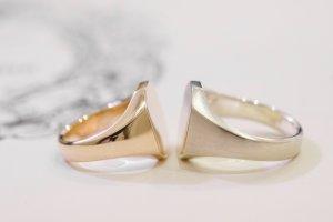 【Semi-custom made】Pair Octagon Signet Ring(9ct Yellow Gold&Sv925)_完成4