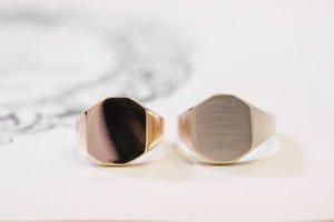 【Semi-custom made】Pair Octagon Signet Ring(9ct Yellow Gold&Sv925)_完成3