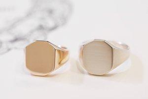 【Semi-custom made】Pair Octagon Signet Ring(9ct Yellow Gold&Sv925)_完成2