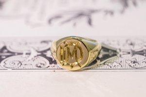 【Bespoke Order】Hand Engraved Circle Signet Ring(18ct Yellow Gold)「MD」_15