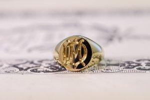 【Bespoke Order】Hand Engraved Circle Signet Ring(18ct Yellow Gold)「MD」_6