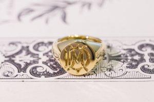 【Bespoke Order】Hand Engraved Circle Signet Ring(18ct Yellow Gold)「MD」_8