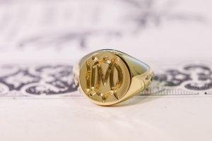 【Bespoke Order】Hand Engraved Circle Signet Ring(18ct Yellow Gold)「MD」_完成4