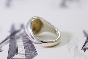 【Semi-custom made】Hand Engraved Brass×Silver Combination Signet Ring(L) 「DH」_7