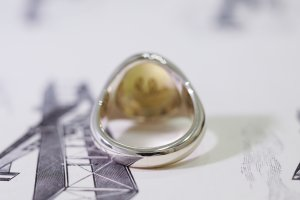 【Semi-custom made】Hand Engraved Brass×Silver Combination Signet Ring(L) 「DH」_8