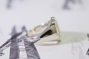 【Semi-custom made】Hand Engraved Brass×Silver Combination Signet Ring(L) 「DH」_11