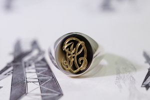 【Semi-custom made】Hand Engraved Brass×Silver Combination Signet Ring(L) 「DH」_12