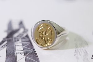 【Semi-custom made】Hand Engraved Brass×Silver Combination Signet Ring(L) 「DH」_3