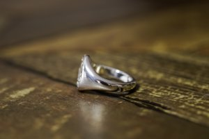 【Semi-custom made】Hand Engraved Oval Signet Ring(Sv925) 「DN」_5