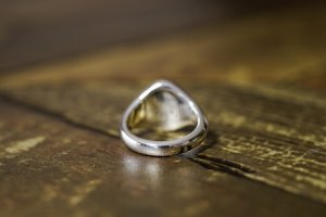 【Semi-custom made】Hand Engraved Oval Signet Ring(Sv925) 「DN」_7