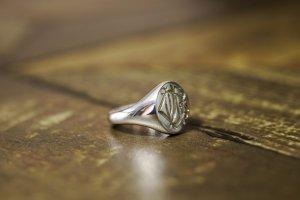 【Semi-custom made】Hand Engraved Oval Signet Ring(Sv925) 「DN」_11