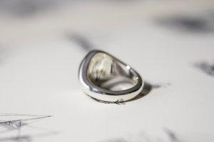 【Semi-custom made】Glayage KYOTO×KUBUS Hand Engraved Oval Signet Ring(Sv925) 「SK」+lightning motif(option)_6