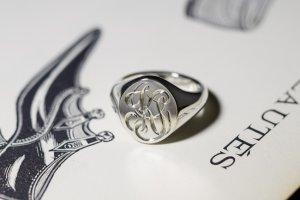 【Semi-custom made】Glayage KYOTO×KUBUS Hand Engraved Oval Signet Ring(Sv925) 「KS」_完成3