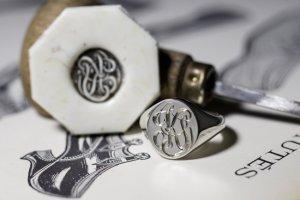 【Semi-custom made】Glayage KYOTO×KUBUS Hand Engraved Oval Signet Ring(Sv925) 「KS」_完成1