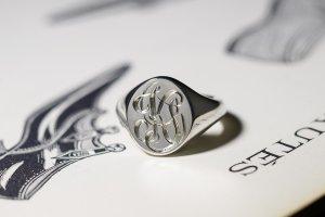【Semi-custom made】Glayage KYOTO×KUBUS Hand Engraved Oval Signet Ring(Sv925) 「KS」_2