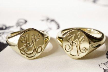 【Semi-custom made】Hand Engraved Pair Oval Signet Ring(Brass)「HA」「SH」_thumbnail