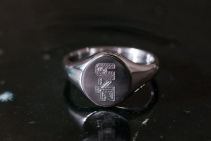【Semi-custom made】The My Way×KUBUS Oval Signet Ring(Sv925) Machine carved_thumbnail