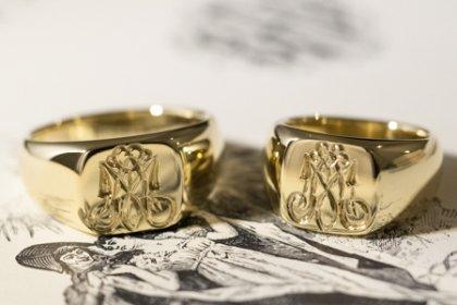【Bespoke Order】Hand Engraved Pair Square Signet Ring(Brass) 「MA」_thumbnail