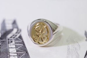 【Semi-custom made】Hand Engraved Brass×Silver Combination Signet Ring(L) 「DH」_1