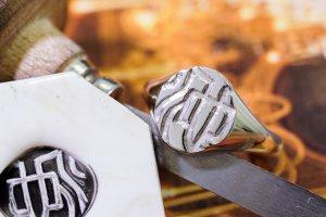【Semi-custom made】Hand Engraved Oval Signet Ring(Sv925) 「KANJI-池」_完成2